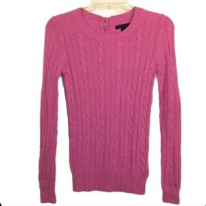 Tommy Hilfiger Pink Cable Knit Crew Neck Sweater